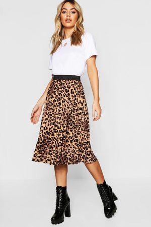 Boohoo Womens Petite Leopard Print Pleated Midi Skirt - - S