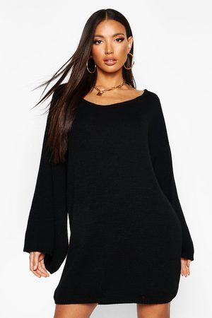 Boohoo Womens Oversized Wide Sleeve Sweater Dress - - S