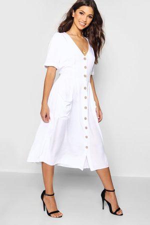 Boohoo Womens Button Front Pocket Detail Midi Dress - - 4