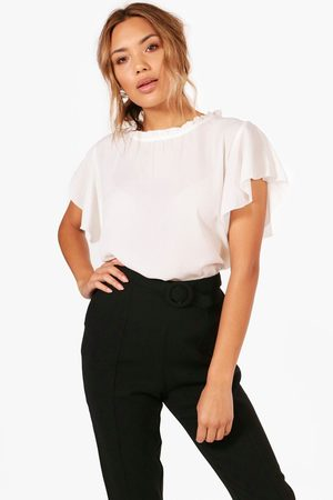 Boohoo Womens Woven Frill Sleeve And Neck Blouse - - 4