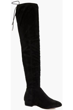 Boohoo Womens Flat Tie Back Thigh High Boots - - 5