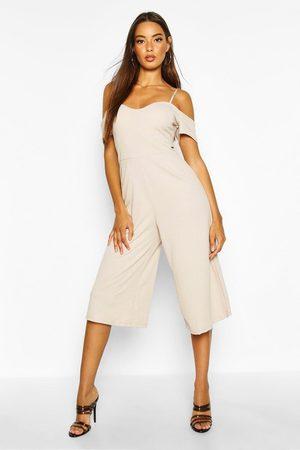 Boohoo Womens Off The Shoulder Culotte Jumpsuit - - 4
