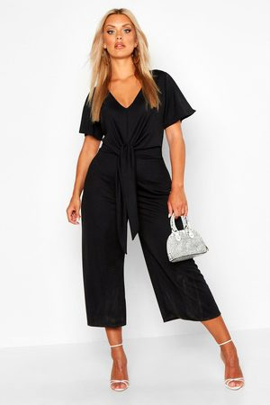Boohoo Womens Plus Tie Front Angel Sleeve Culotte Jumpsuit - - 18
