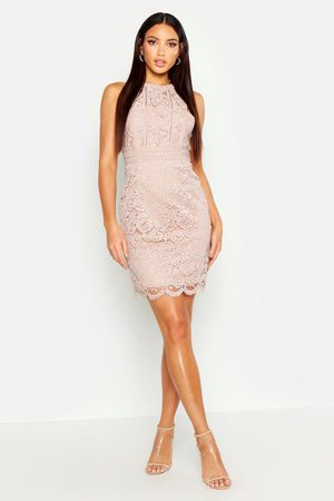 Boohoo Womens Boutique Lace Racer Neck Bodycon Dress - - 2