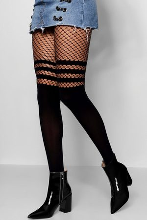 Boohoo Womens Sports Stripe Mock Hold Up Fishnet Tights - - One Size