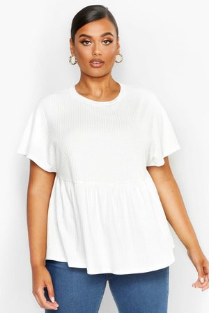 Boohoo Womens Plus Super Soft Rib Smock Top - - 12