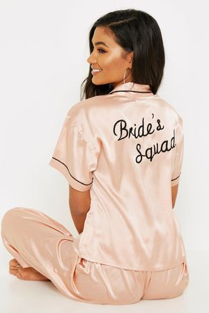 Boohoo Womens Rose Gold Brides Squad Embroidered PJs - - 2