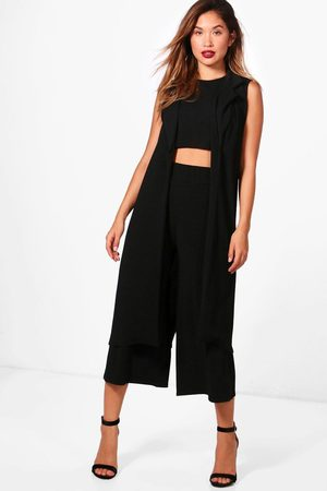 Boohoo Womens 3 Piece Crop Culotte & Duster Two-Piece Set - - 2