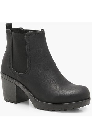 Boohoo Womens Wide Fit Chunky Cleated Heel Chelsea Boots - - 5