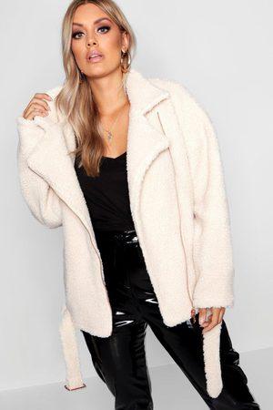 Boohoo Womens Plus Teddy Faux Fur Biker Jacket - - 12