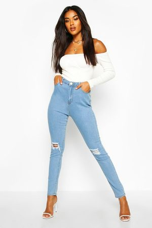 Boohoo Womens High Waist Distressed Skinny Jeans - - 2