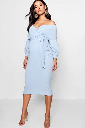 Boohoo Womens Maternity Off The Shoulder Wrap Midi Dress - - 4
