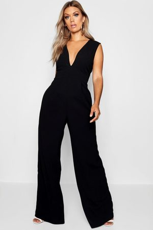Boohoo Womens Plus Plunge Wide Leg Jumpsuit - - 12