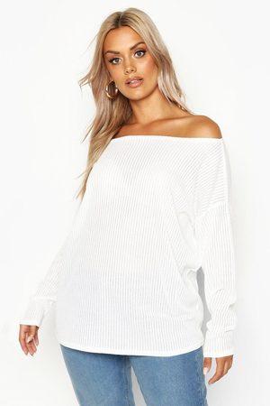 Boohoo Womens Plus Oversized Rib Long Sleeve T-Shirt - - 16