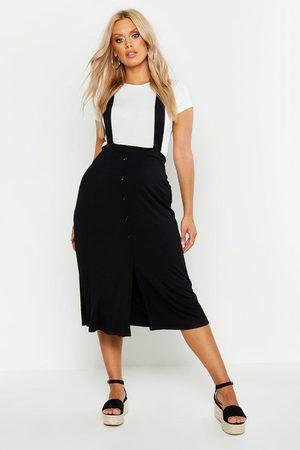 Boohoo Womens Plus Jersey Button Through Midi Pinafore Skirt - - 12