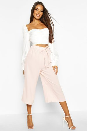Boohoo Womens Basic Tie Waist Woven Crepe Culottes - - 2