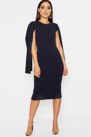Boohoo Womens Cape Sleeve Bodycon Midi Dress - - 4