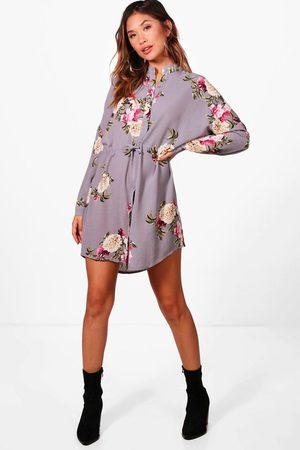 Boohoo Womens Floral Shirt Dress - - 4