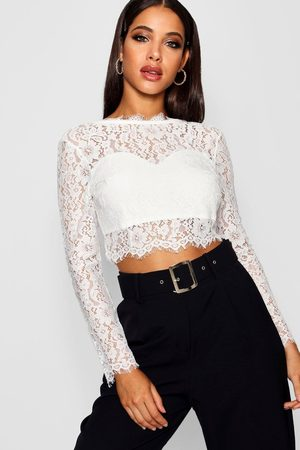 Boohoo Womens Premium Lace Crop Top - - S