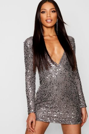 Boohoo Womens Rose Deep Plunge Sequin Bodycon Dress - - 4