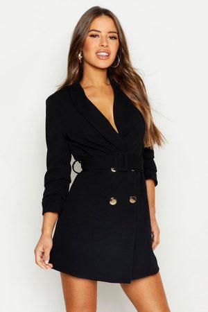 Boohoo Womens Petite Self Belt Button Blazer Dress - - 2