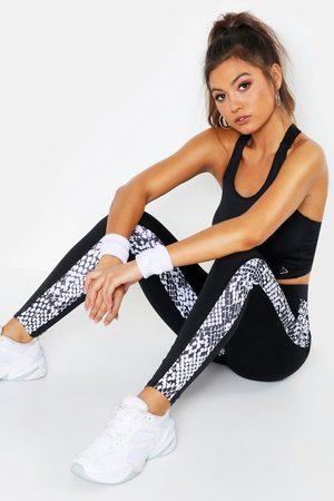 Boohoo Womens Fit Snake Print Running Leggings - - 2