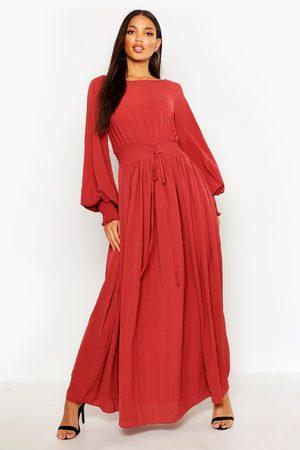 Boohoo Womens Shirred Waist & Cuff Woven Maxi Dress - 4