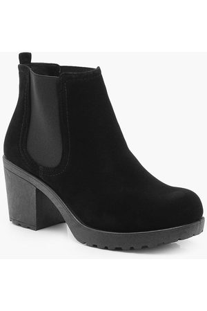 Boohoo Womens Wide Fit Suedette Cleated Heel Chelsea Boots - - 5