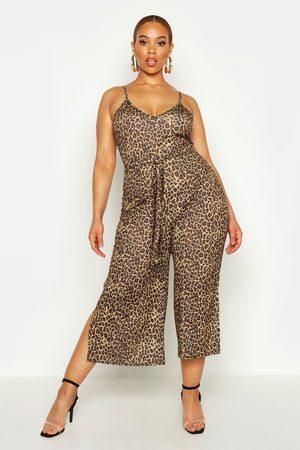 Boohoo Womens Plus Leopard Print Self Belt Culotte Jumpsuit - - 12