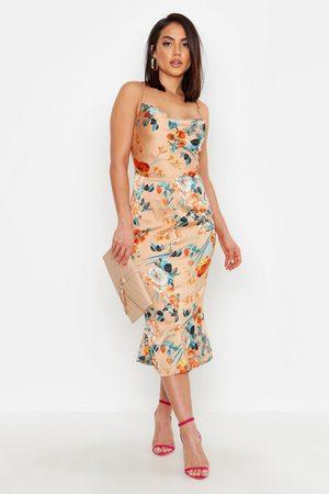 Boohoo Womens Satin Floral Cowl Flute Hem Slip Dress - - 4