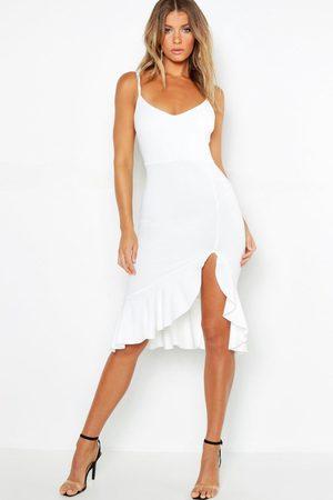 Boohoo Women Bodycon Dresses - Womens Strappy Frill Hem Midi Dress - - 4