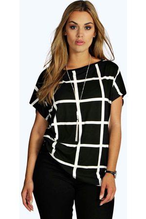 Boohoo Womens Plus Grid Print Oversize T-Shirt - - 12