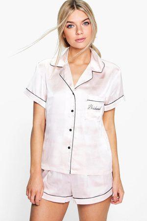 Boohoo Womens Bridesmaid Embroidered Satin Tshirt + Short Set - - 2