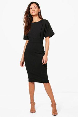 Boohoo Womens Petite Tie Waist Formal Wiggle Midi Dress - - 2
