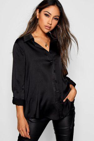 Boohoo Womens Woven Satin Oversized Long Sleeve Shirt - - 12