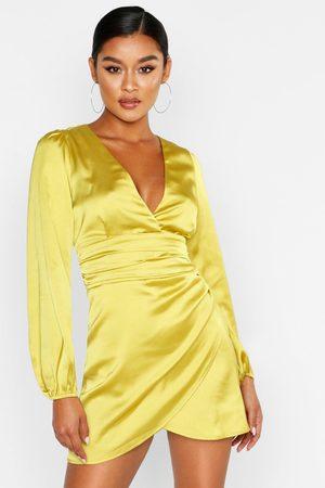 Boohoo Womens Satin Wrap Detail Mini Dress - - 10