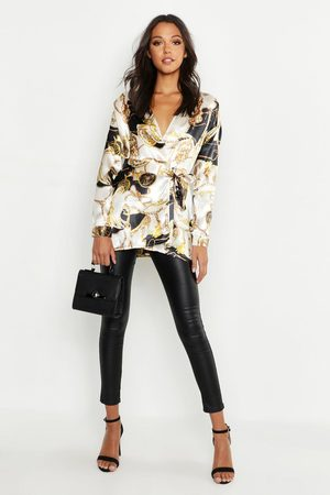 Boohoo Womens Tall Satin Chain Print Wrap Shirt - - 4