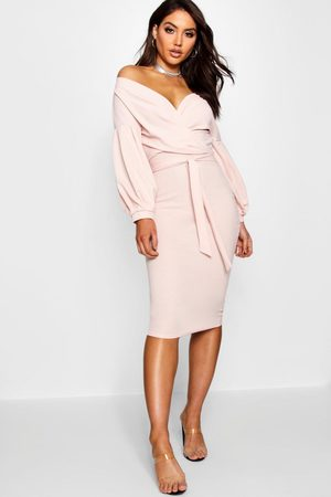 Boohoo Womens Off The Shoulder Wrap Midi Bodycon Dress - - 2