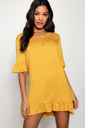 Boohoo Womens Ruffle Detail Jersey Shift Dress - - 4