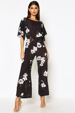 Boohoo Womens Floral Angel Sleeve Jumpsuit - - 6