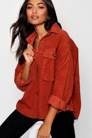 Boohoo Womens Super Oversize Mock Horn Button Cord Shirt - - 2