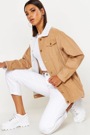 Boohoo Womens Borg Long Line Cord Jacket - - 2