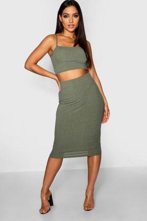 Boohoo Womens Square Neck Strappy Midi Skirt Co-Ord Set - - 2
