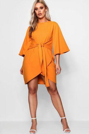 Boohoo Womens Plus Kimono Sleeve Tie Waist Wrap Dress - - 12