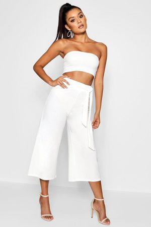Boohoo Womens Tie Waist Culotte Co-Ord Set - - 4
