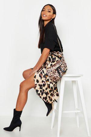 Boohoo Womens Leopard Print Satin Wrap Midi Skirt - - 4
