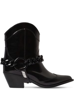 Msgm Women Ankle Boots - 60mm Chain Cowboy Leather Ankle Boots