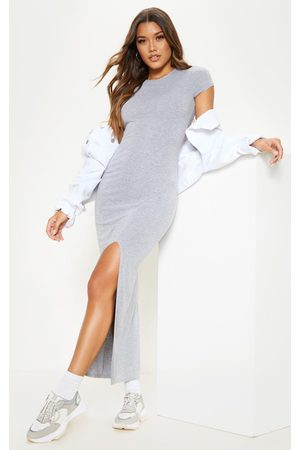 PRETTYLITTLETHING Grey Jersey Short Sleeve Split Maxi Dress