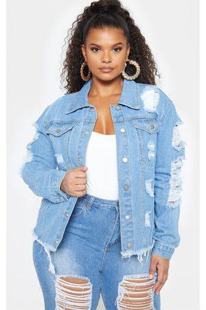 PRETTYLITTLETHING Plus Light Wash Distress Oversized Denim Jacket
