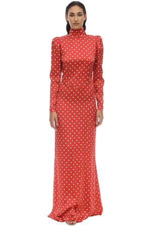 Alessandra Rich Long Polka Dot Satin Dress